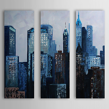 Hand Painted Oil Painting Landscape Blue City with Stretched Frame Set of 3 1...