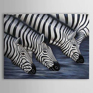 Hand Painted Oil Painting Animal Zebra with Stretched Frame 1310-AN1196
