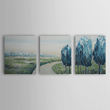 Hand Painted Oil Painting Landscape Country Path with Stretched Frame Set of ...