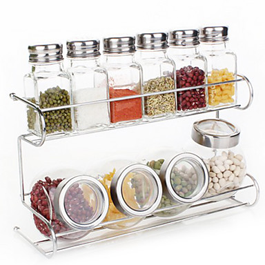 Buy 2 Tier Glassware Cruet Set Rack(90ML Transparent Salt Shakers, 200ML Round Jar, 1pc Rack)