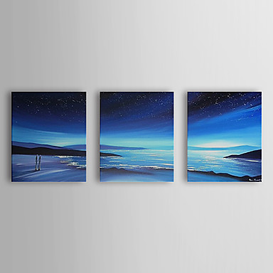 Hand Painted Oil Painting Landscape Blue Sea with Stretched Frame Set of 3 13...