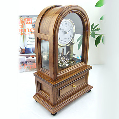 """10""""Country Type Wedding Used Brown Tabletop Clock"""