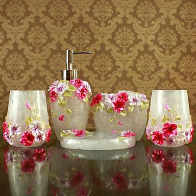 Bathroom accessories set 5 piece white resin bath for Floral bathroom accessories set