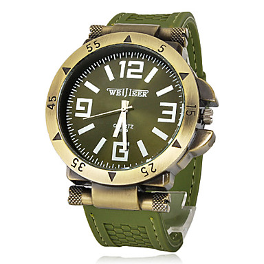 Buy Men's Watch Military Green Bronze Silicone Strap Wrist Cool Unique