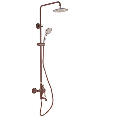 Buy Contemporary Wall Mounted Waterfall / Widespread Ceramic Valve Single Handle Three Holes Painting , Shower Faucet