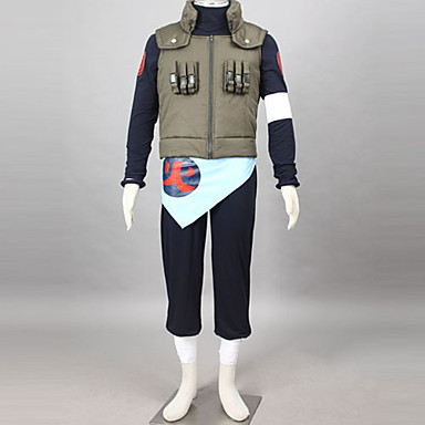Buy Inspired Naruto Asuma Sarutobi Anime Cosplay Costumes Suits Patchwork Black / Blue Green Long SleeveVest T-shirt Pants