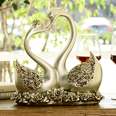 """10.75""""H Modern Style Polyresin Swan Type Collectibles"""
