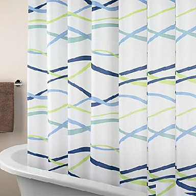 Shower Curtain Modern Curve Print Thick Fabric Water Resistant W71 X L71 1052176 2017