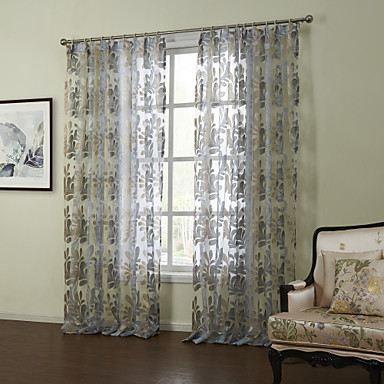 modern two panels floral botanical blue bedroom sheer