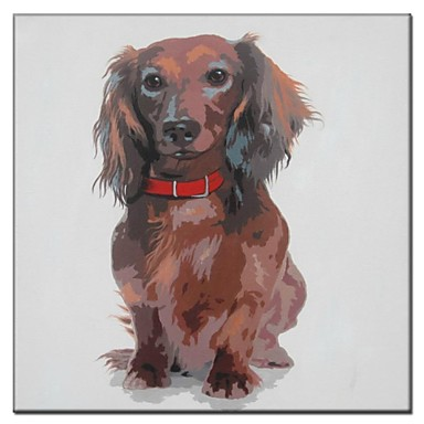 Hand Painted Oil Painting Animal Puppy with Necklet