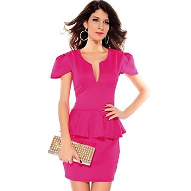 Vestido peplum rosa