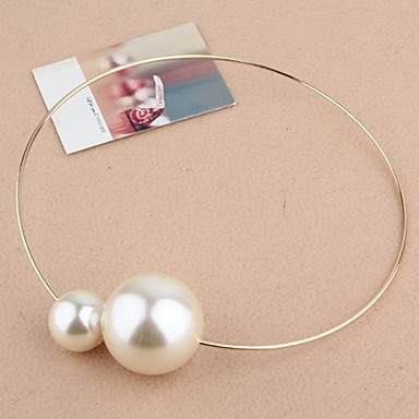 Bright (Spere Pendant) White Imitation Pearl With Gold Alloy Torque(1 Pc)