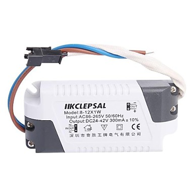 (8-12)x1W LED Driver Power Source Converter for Ceiling Light (24-42V,300mAh)