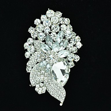 8.9cm Alloy and Rhinetone Flower with Leaf Brooch carf Pin (More Color)