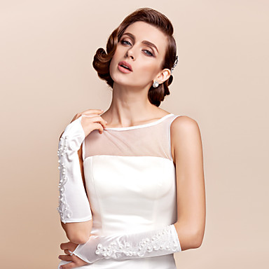 Buy Satin Fingerless Elbow Length Bridal Gloves