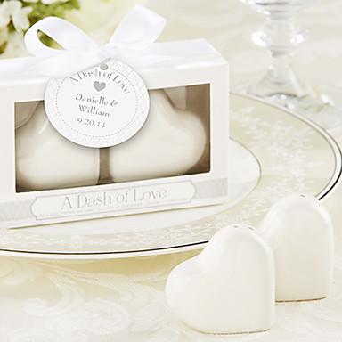 """A Dash of Love"" Ceramic Heart Salt & Pepper Shakers,W10cm xL3cm xH6cm"