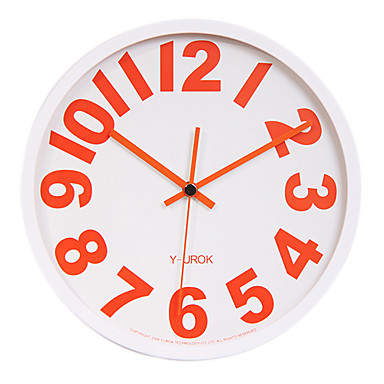 """11.8"""" White Frame Red Bold Figure Mute Wall Clock"""