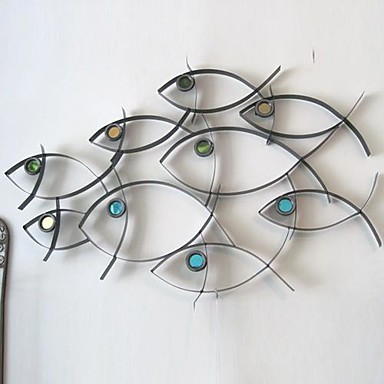 Fish Metal Wall Art metal wall art wall decor school of fish wall decor 1690113 2017