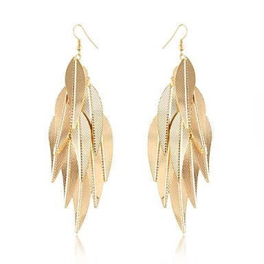 (1 Pair)European (Sheet Metal Leaves) Golden Alloy Drop Earrings