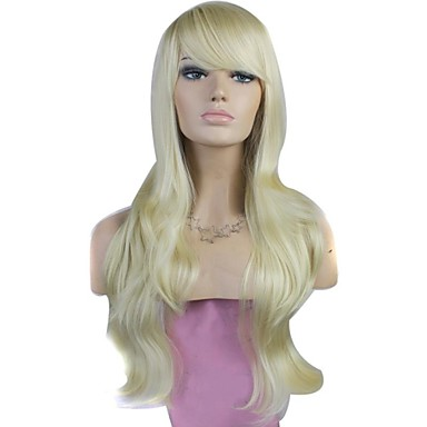 capless high quality long big wave synthetic blonde wig