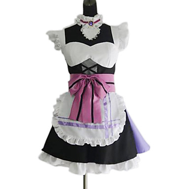 Buy Inspired Love Live Nozomi Tōjō Anime Cosplay Costumes Suits Patchwork Pink Short Sleeve Dress / Apron Socks