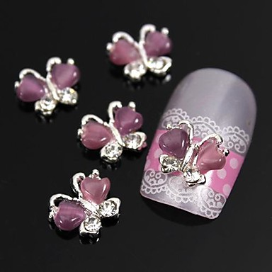 10pcs mariposa con piedra de ojo de u as aleaci n 3d - Decoracion con mariposas ...