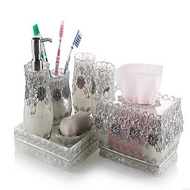7 piece bath collection set resin material silver color for Silver bathroom set