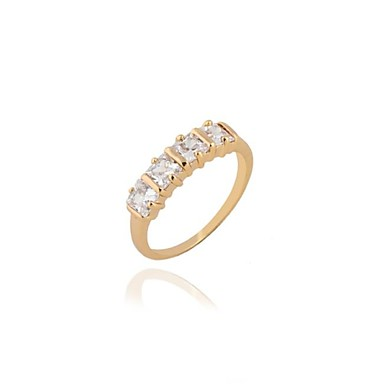 s fashion simple design 18k gold zircon wedding ring