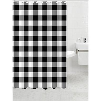 Blanco Y Negro De La Cortina De Ducha De Poli Ster 1783429