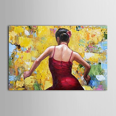 Buy IARTS®Hand Painted Oil Painting People Dancing Girl Red Spanish Stretched Frame