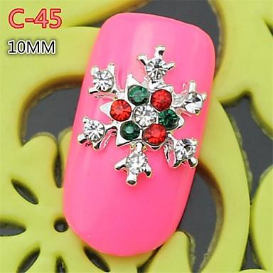 10st c 45 nieuwe ontwerp zilverachtige kleur strass 3d sneeuwvlok stijl legering nail art - Kleursalon ontwerp ...