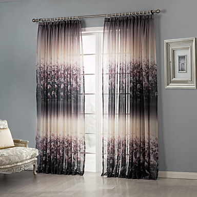 two panels curtain country bedroom polyester material sheer curtains