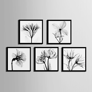Buy Floral/Botanical Framed Canvas / Set Wall Art,PVC Black Mat Frame Art
