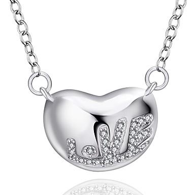 Buy Fine Jewelry 925 Sterling Silver Heart LOVE Pendant Necklace Women