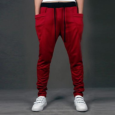 Men's Mid Rise Sweatpants Pants,Simple Loose Solid