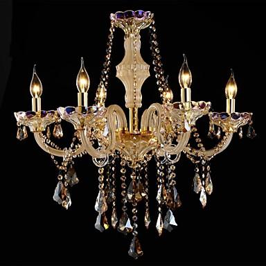 Moderna l mpara de ara a de cristal de seis luces vidrio y - Lamparas arana modernas ...
