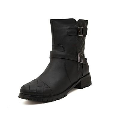 bottes chaussures moto bottes pour femmes bout rond talon bas mi mollet avec fermeture. Black Bedroom Furniture Sets. Home Design Ideas