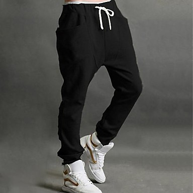 Men's Solid Casual / Sport Sweatpants,Cotton Blend Black / Gray