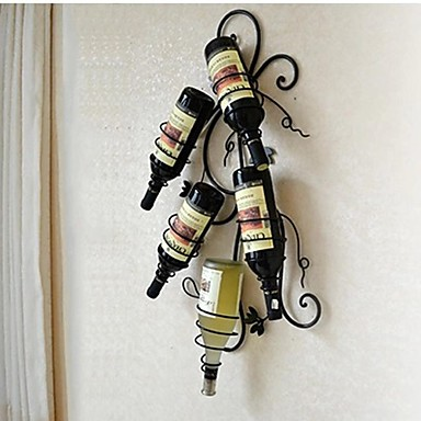 E Home Metal Wall Art Wall Decor Wine Bottle Rack Wall