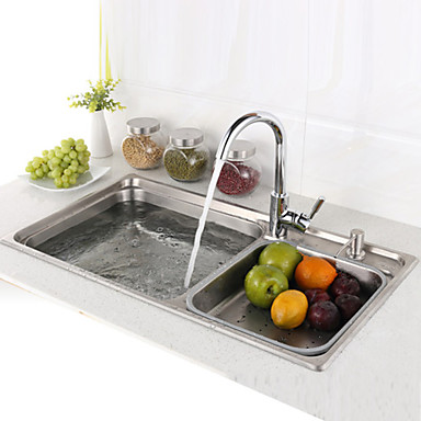 L29 5 inch double bowl 304 stainless steel kitchen sink for Kitchen set vessels