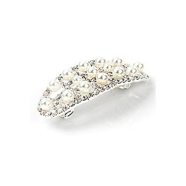 Buy Flower Silver Plated Crystal Bridal Wedding Hair Comb HOTSilver Pearl Barrette Clip 2.5x1.1 inch HOT