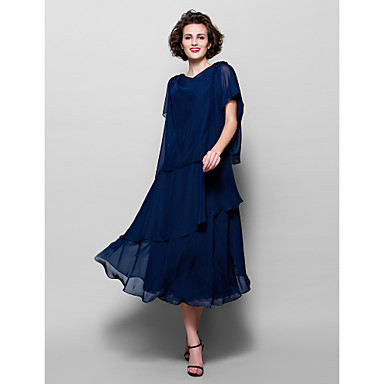 LAN TING BRIDE A-line Plus Size Petite Mother of the Bride Dress - Elegant Tea-length Short Sleeve Chiffon with Appliques Beading
