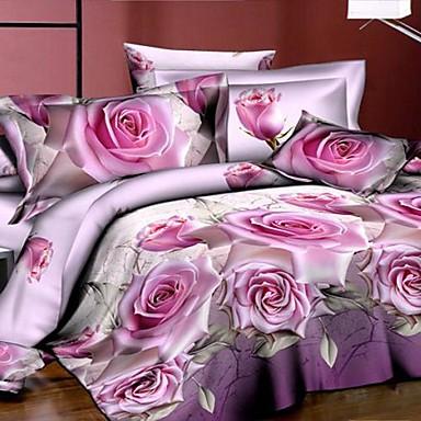 couette betterhome couverture housse de couette mode 3d activit 4pcs imprim floral de 2422253. Black Bedroom Furniture Sets. Home Design Ideas
