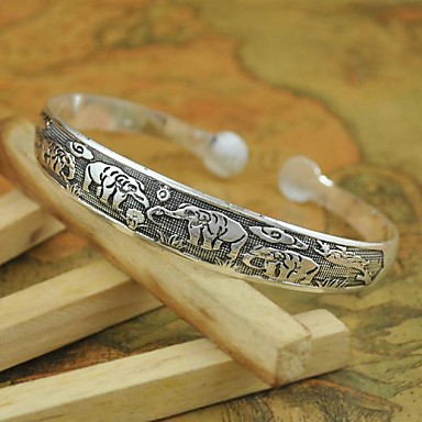 1PCS Fashion VintageTibetan Carved Silver Bracelet N0.2