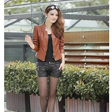YUNTUO®Women's fashion pu leather big yards of coat 11