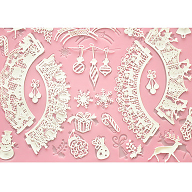 Buy FOUR-C Cake Baking Mat Lace Silicone Mold Decoration,Silicone Fondant Tools Color Pink