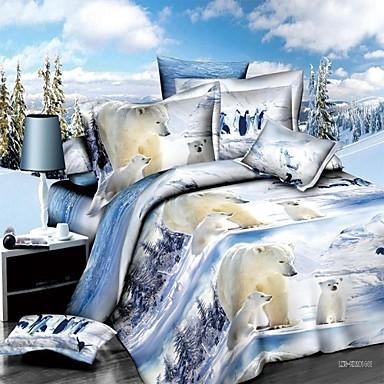 couette de couverture 3d lit ours polaire dans une couverture et un oreiller feuille de couette. Black Bedroom Furniture Sets. Home Design Ideas