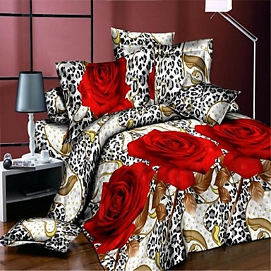 Buy 3D Red Rose Bedding Bed Sheet Real Flowers Style Bedcover Duvet Cover