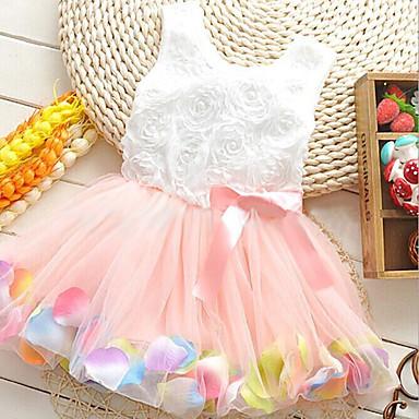 Girl's Princess Pearl Petals Gauze Sleeveless Bowknot Small Dress