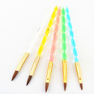Buy 5 Colors Sizes 2-way Professional UV Gel Brush Set Acrylic Nail Art Painting Draw